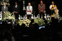 (L-r) Faith leaders from the Jewish, Christian and Native American faiths at the memorial service for boxing legend Muhammad Ali at the KFC Yum! Center in Louisville, Kentucky on June 10, 2016.  Ali was involved in the planning of the ceremony which included speeches from leaders of numerous faith as well as comedian Billy Crystal and former American President Bill Clinton.