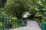 Stairway leading to tropical gardens and to suspension bridge through the rainforest at Arenal Observatory Lodge near Fortuna, Costa Rica.