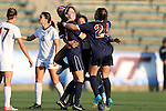 02 November 2012: Virginia's Caroline Miller (10) celebrates her goal with Morgan Brian (6) and Danielle Colaprico (24). The Florida State University Seminoles played the University of Virginia Cavaliers at WakeMed Stadium in Cary, North Carolina in a 2012 NCAA Division I Women's Soccer and Atlantic Coast Conference Tournament semifinal game. Virginia won the game 4-2.