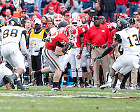 The Georgia Bulldogs beat the App State Mountaineers 45-6 in their homecoming game.  After a close first half, UGA scored 31 unanswered points in the second half.  Georgia Bulldogs running back Brendan Douglas (22) is tackled by Appalachian State Mountaineers linebacker Karl Anderson (45)