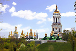 Travel stock photo of Golden cupola and a bell tower of Kiev pechersk lavra - Cave monastery in Kiev Ukraine Eastern Europe Architecture in Ukrainian baroque architectural style Largest monastery in Russia Horizontal orientation May 2007