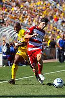28 AUGUST 2010:  Emilio Renteria of the Columbus Crew (20) and FC Dallas' Zach Loyd (19) during MLS soccer game between FC Dallas vs Columbus Crew at Crew Stadium in Columbus, Ohio on August 28, 2010.