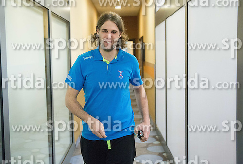 Dean Bombac coming to the press conference of Team Slovenia on Day 1 of Men's EHF EURO 2016, on January 15, 2016 in Hotel Mercure Wrocław Centrum, Wroclaw Poland. Photo by Vid Ponikvar / Sportida