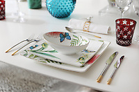 Close up of a place setting on the dining table