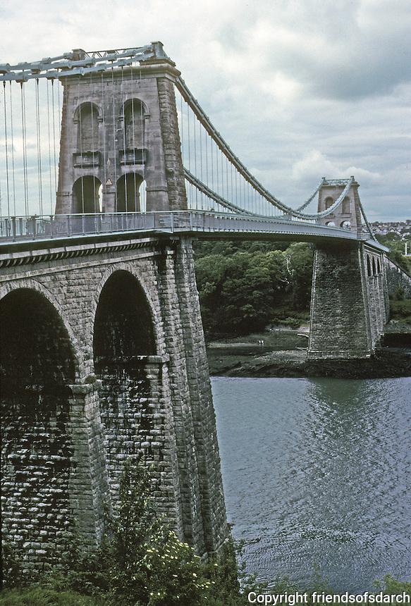 Technology: Thomas Telford Menai Road Bridge, 1818-1826. Main span, 550 feet. Photo '90. Between the island of Anglesey and the mainland of Wales. Opened 1826.