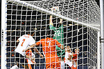 11 December 2015: Clemson's Andrew Tarbell (22) catches a corner kick in traffic. The Clemson University Tigers played the Syracuse University Orange at Sporting Park in Kansas City, Kansas in a 2015 NCAA Division I Men's College Cup Semifinal match. The game ended in a 0-0 tie after overtime; Clemson advanced to the Final by winning the penalty kick shootout 4-1.