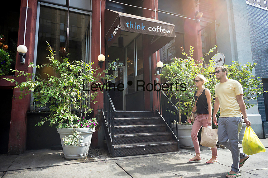 "A branch of Think Coffee in Greenwich Village in new York is seen on Saturday, September 22, 2012. After being featured in a South Korean television program, ""Infinite Challenge"", this particular branch of the chain has become a pilgrimage stop for South Korean tourists. . (© Richard B. Levine)"