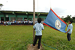Flag raising at primary school in Midway village in Southern Belize