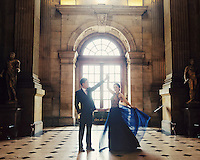 A Chinese couple pose for their wedding photos in Castle Howard, Yorkshire, UK.  An increasing number of Chinese couple are having their wedding photos taken in the English country-side, classic towns and monuments to show in China.