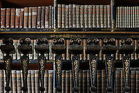 Bookshelves with Chinese motifs, lacquer and gilding by Manuel da Silva, in the Black Room of the Joanina Library, or Biblioteca Joanina, a Baroque library built 1717-28 by Gaspar Ferreira, part of the University of Coimbra General Library, in Coimbra, Portugal. The Casa da Livraria was built during the reign of King John V or Joao V, and consists of the Green Room, Red Room and Black Room, with 250,000 books dating from the 16th - 18th centuries. The library is part of the Faculty of Law and the University is housed in the buildings of the Royal Palace of Coimbra. The building is classified as a national monument and UNESCO World Heritage Site. Picture by Manuel Cohen