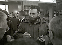 Prime Minister Fidel Castro of Cuba speaks to reporters after addressing a National Press Club luncheon in Washington, DC on April 20, 1959.  His appearance came less than four months after he seized power in Cuba and he said he had no dictatorial ambitions.<br /> Credit: Benjamin E. &quot;Gene&quot; Forte / CNP /MediaPunch