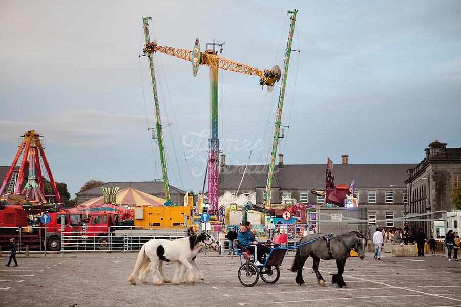 2/10/2010.  Taveler boys ride their trotter at the Ballinasloe Horse Fair, Ballinasloe, County Galway, Ireland. Picture James Horan