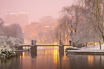 Fresh snow in the Boston Public Garden, Boston, Massachusetts, USA