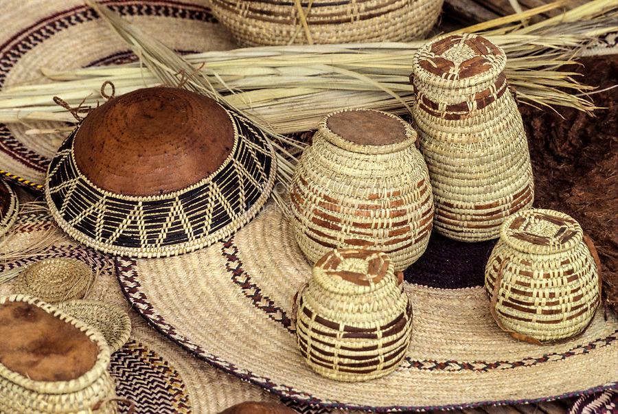 Oman.  Baskets, Mats, and Bowl, mostly made of desert-palm fiber.