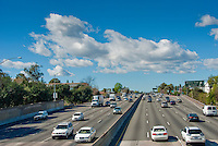 Los Angeles, 101 Freeway, Traffic, Transportation, Trucks. Cars, Automobiles, Autos, Highway, Overpass, Signs,