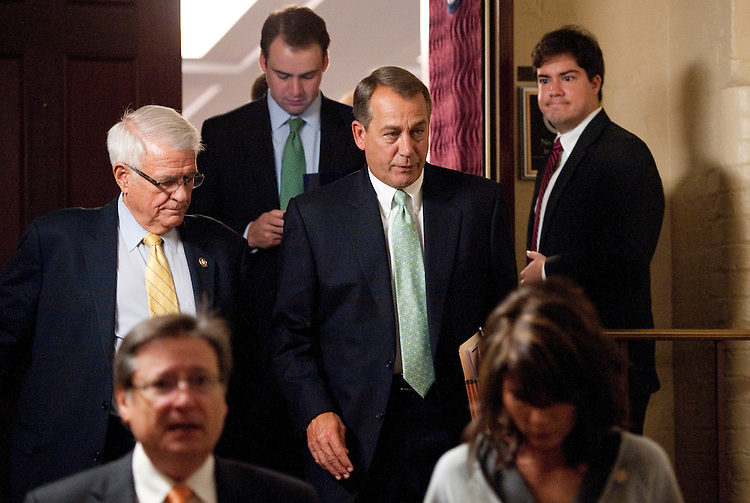 UNITED STATES - SEPTEMBER 21: Speaker of the House John Boehner, R-Ohio, leaves the House Republican Conference meeting in the Capitol on Wednesday,  Sept. 21, 2011. (Photo By Bill Clark/Roll Call)