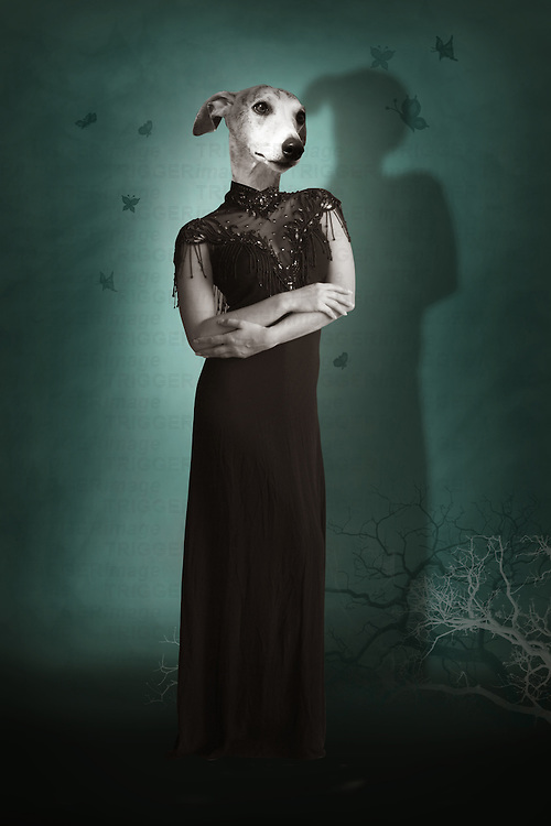 lady in a black dress with a dogs head