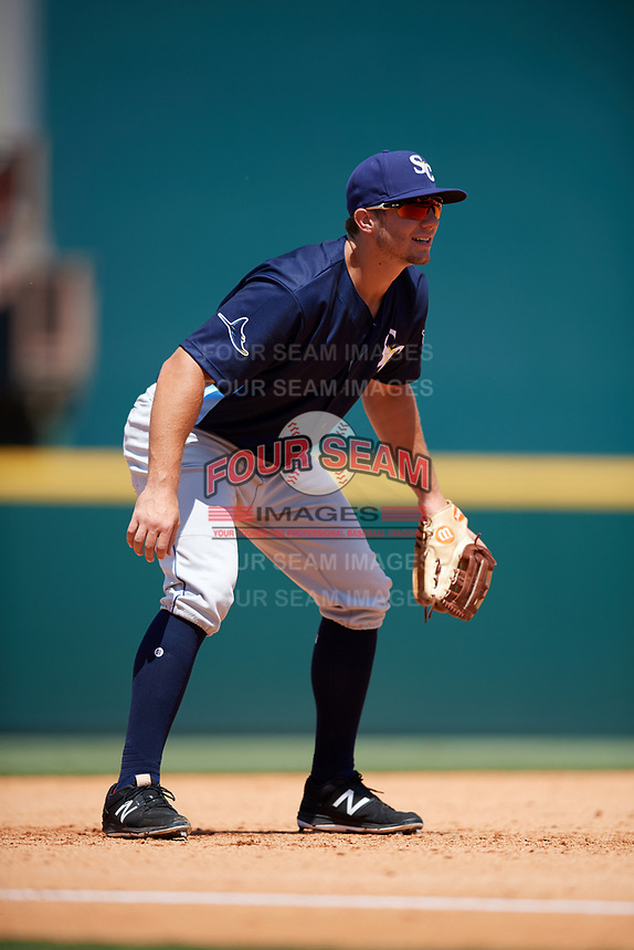 Charlotte Stone Crabs third baseman Kevin Padlo (11) during a game against the Bradenton Marauders on April 9, 2017 at LECOM Park in Bradenton, Florida.  Bradenton defeated Charlotte 5-0.  (Mike Janes/Four Seam Images)