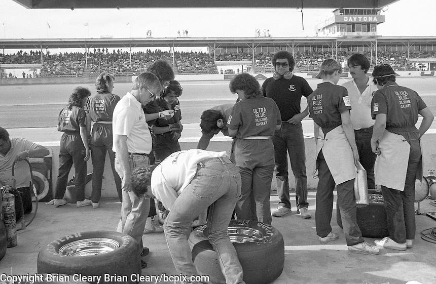 Bill Venturini's all-girl pit crew in action during the ARCA 200 stock car race, Daytona INternational Speedway, Daytona Beach, FL, February 9, 1986. (Photo by Brian Cleary/ www.bcpix.com )