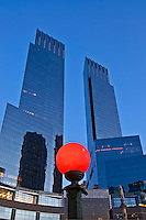 New York City, New York, Time Warner Center. Designed by David Childs of Skidmore, Owings &amp; Merrill LLP, 10 Columbus Circle, Late Modern (International Style III), Columbus Circle Fountain Sculpture Gaetano Russo, red Subway entrance light