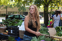 Farmer Leah Thorpe at Dufferin Grove Organic Farmers Market in Toronto.