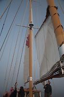 Raising the Sails, SV Maple Leaf, Boundary Pass, Gulf Islands, British Columbia, Canada