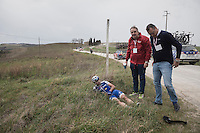 Ariel Maximiliano Richeze (ARG/QuickStep Floors) was involved in a mass crash &amp; is forced to abandon the race at 67km<br /> <br /> 11th Strade Bianche 201711th Strade Bianche 2017