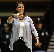 Duke women's head coach Joanne P. McCallie advises her players from the sidelines. Duke woman's basketball beat Virginia 77-66 on Monday, January 2, 2012 at Cameron Indoor Stadium in Durham, NC. Photo by Al Drago.