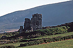 Irish Ruin, Irish countryside, hilly green hills of Ireland