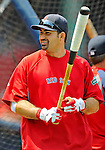 9 June 2012: Boston Red Sox first baseman Adrian Gonzalez awaits his turn in the batting cage prior to a game against the Washington Nationals at Fenway Park in Boston, MA. The Nationals defeated the Red Sox 4-2 in the second game of their 3-game series. Mandatory Credit: Ed Wolfstein Photo