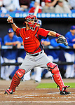 5 March 2012: Washington Nationals catcher Jesus Flores in action during a Spring Training game against the New York Mets at Digital Domain Park in Port St. Lucie, Florida. The Nationals defeated the Mets 3-1 in Grapefruit League play. Mandatory Credit: Ed Wolfstein Photo