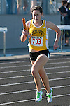 Vallivue junior Cheryn Trapp during the 4x800 relay at the 5A Idaho Track and Field Championships on May 18, 2012 at Rocky Mountain High School, Meridian, Idaho. Vallivue finished second with a time of 9:29.93.