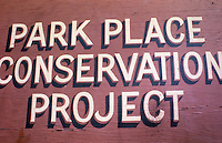 1974 January..Conservation.Park Place..PARK PLACE CONSERVATION PROJECT SIGN...NEG#.NRHA# 4685..