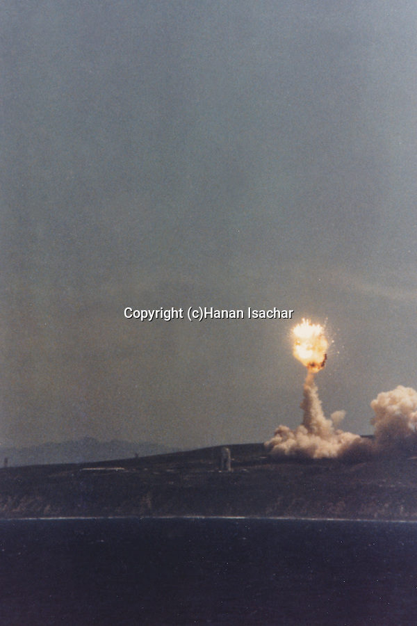 The Titan 34D rocket carrying a KH-9 Hexagon reconnaissance satellite explosion shortly after lift-off at Vanderberg Air Force Base, CA.