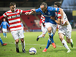 St Johnstone v Hamilton Accies...04.01.15   SPFL<br /> Lee Croft battles with Jonathon Routledge and Stephen Hendrie<br /> Picture by Graeme Hart.<br /> Copyright Perthshire Picture Agency<br /> Tel: 01738 623350  Mobile: 07990 594431