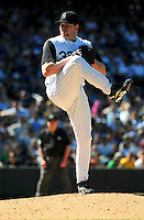 07 September 08: Rockies pitcher Glendon Rusch delivers a pitch against the Houston Astros. The Houston Astros defeated the Colorado Rockies 7-5 at Coors Field in Denver, Colorado. FOR EDITORIAL USE ONLY