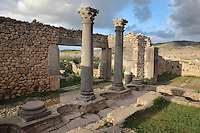 Relaxation area of the House of the Columns, with columns and Corinthian capitals, Volubilis, Northern Morocco. Volubilis was founded in the 3rd century BC by the Phoenicians and was a Roman settlement from the 1st century AD. Volubilis was a thriving Roman olive growing town until 280 AD and was settled until the 11th century. The buildings were largely destroyed by an earthquake in the 18th century and have since been excavated and partly restored. Volubilis was listed as a UNESCO World Heritage Site in 1997. Picture by Manuel Cohen