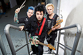 GREEN DAY - L-R: Tré Cool, Billie Joe Armstrong, Mike Dirnt - photosession backstage at the SAP Arena in Mannheim Germany - 18 Jan 2017.  Photo credit: Paul Harries/IconicPix **NOT AVAILABLE FOR UK MUSIC MAGAZINES**