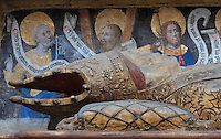 Detail of the funerary monument of Ferry de Beauvoir, died 1473, Catholic prelate and 64th bishop of Amiens 1457-73, in the South side of the choir, at the Basilique Cathedrale Notre-Dame d'Amiens or Cathedral Basilica of Our Lady of Amiens, built 1220-70 in Gothic style, Amiens, Picardy, France. Amiens Cathedral was listed as a UNESCO World Heritage Site in 1981. Picture by Manuel Cohen