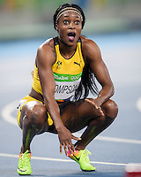 Jamaica Elaine Thompson reacts to the scoreboard after winning a sprint double at the Rio2016 Olympic Stadium. <br /> Rio de Janeiro, Brazil on August 17, 2016.<br /> CAP/CAM<br /> &copy;Andre Camara/Capital Pictures /MediaPunch ***NORTH AMERICAS ONLY***