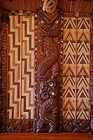 Waitangi Treaty Grounds, New Zealand.  Maori Wood Carving inside Meeting House.