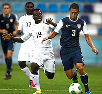 Ghana's Moses Odjer (C) and USA's Juan Pablo Ocegueda (R) during their FIFA U-20 World Cup Turkey 2013 Group Stage Group A soccer match Ghana betwen USA at the Kadir Has stadium in Kayseri on June 27, 2013. Photo by Aykut AKICI/isiphotos.com
