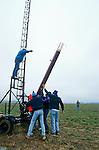 Dennis Lemot attaches his rocket  onto his launch platform  at an amateur rocket festival..Manchester, Tennessee.