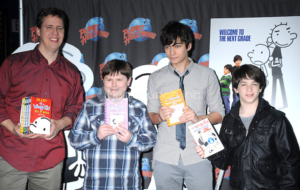 Jeff Kinney and actors Robert Capron, Devon Bostick and Zach Gordon at Planet Hollywood Times Square in New York City. March 16, 2011 © mpi01 / MediaPunch Inc.