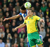Blackburn Rovers' Derrick Williams battles with Norwich City's Ryan Bennett<br /> <br /> Photographer David Shipman/CameraSport<br /> <br /> The EFL Sky Bet Championship - Norwich City v Blackburn Rovers - Saturday 11th March 2017 - Carrow Road - Norwich<br /> <br /> World Copyright &copy; 2017 CameraSport. All rights reserved. 43 Linden Ave. Countesthorpe. Leicester. England. LE8 5PG - Tel: +44 (0) 116 277 4147 - admin@camerasport.com - www.camerasport.com