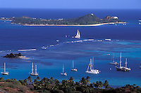 view from Union Island to Palm Island, The Grenadines, Caribbean