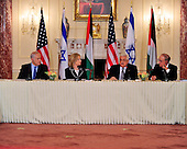 "President Mahmoud Abbas of the Palestinian Authority makes remarks at the ""Relaunch of Direct Negotiations Between the Israelis and Palestinians"" in the Benjamin Franklin Room of the U.S. Department of State on Thursday, September 2, 2010.  From left to right: Prime Minister Benjamin Netanyahu of Israel, United States Secretary of State Hillary Rodham Clinton, President Mahmoud Abbas of the Palestinian Authority, and U.S. Special Envoy to the Middle East George Mitchell..Credit: Ron Sachs / CNP.(RESTRICTION: NO New York or New Jersey Newspapers or newspapers within a 75 mile radius of New York City)"