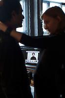 Moscow, Russia, 11/02/2011..Producer Elena Kashirskaya prepares Snob magazine journalist Ilya Kolmonovski during studio shoot in which Kolmonovski enacts parts of the human body.