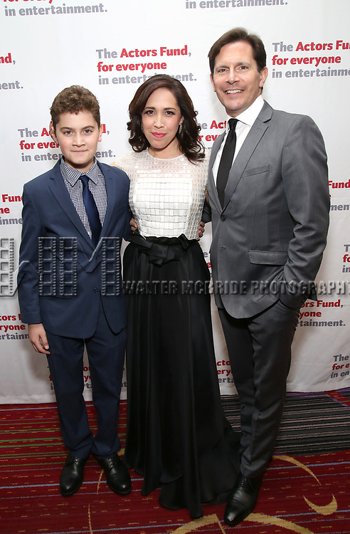 Hudson Flynn, Andrea Burns and Peter Flynn attends The Actors Fund Annual Gala at the Marriott Marquis on 5/8//2017 in New York City.