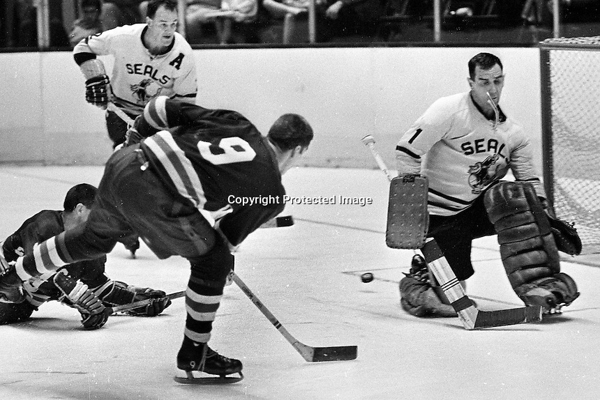 Western Hockey League action: San Francisco Seals Jack Evans, and goalie Jack McCartan. (photo by Ron Riesterer)